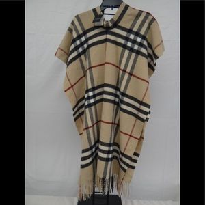NWT Burberry funnel neck nova check poncho
